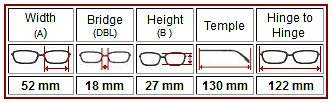 Eyeglass Frames Size Chart : Eyeglasses Sizes