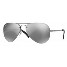 Ray Ban RB3449 Iconic Aviator Sunglasses  Black and White